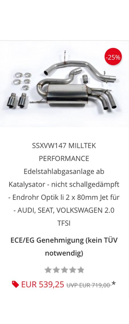 Система SSXVW147 Milltek выхлопных газов