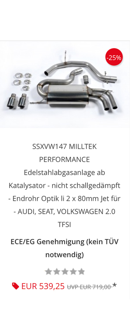 Milltek exhaust system SSXVW147