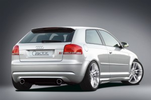 Rear bumper / rear valance with muffler with 2 tailpipes (left & right) for 2.0 L Turbo FSI - for Audi A3 (8P)