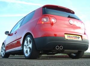 MILLTEK PERFORMANCE Edelstahlabgasanlage  ab Katalysator - mit Endrohr Optik li 2 x 76 mm Jet für - VW, Golf V (1K), 2.0 TDI (170 PS) (Baujahr 2004-2009)